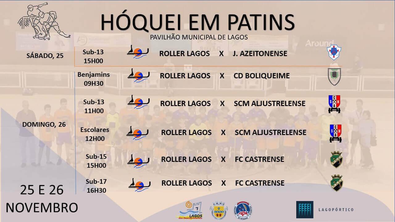 Roller Lagos joga em casa com todos os escalões Cartaz jogo TODOS 25 E 26 NOVEMBRO
